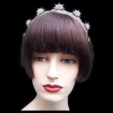 Mid century star design headband faux tortoiseshell rhinestone hair accessory