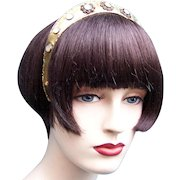 Art Nouveau tiara gilded brass mother of pearl hair accessory