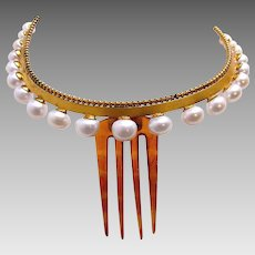Victorian hinged tiara hair comb faux pearl coronet hair accessory