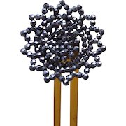 Cut steel hair comb hinged Victorian flower shape hair pin