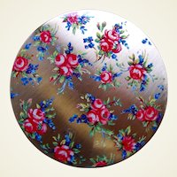Stratton of England powder compact mid century enamel floral