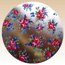 Stratton of England powder compact mid century enamel floral