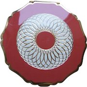 Stratton of England powder compact mid century rose pink enamel