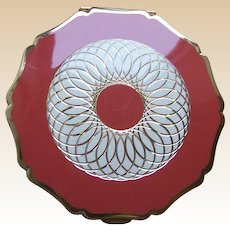Stratton of England powder compact mid century rose pink enamel
