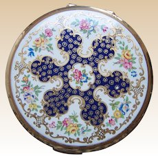 Stratton of England powder compact mid century enamel floral design