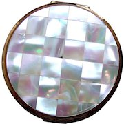 Stratton of England powder compact mid century mother of pearl