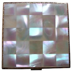 Emrich powder compact mid century mother of pearl bridesmaid gift