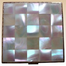 Emrich powder compact mid century mother of pearl