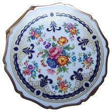 Stratton of England powder compact mid century enamel floral design