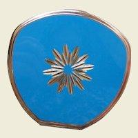 Stratton of England powder compact mid century blue enamel