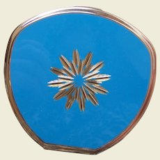 Stratton of England powder compact mid century blue enamel