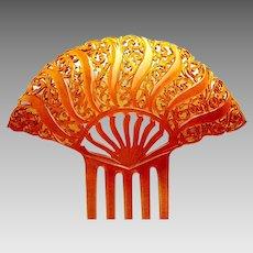 Amber colour celluloid hair comb Art Deco Spanish style hair accessory