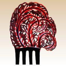 Large feather shape hair comb Art Deco Spanish style hair accessory