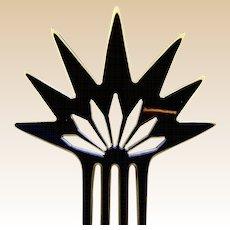 Black celluloid spiky hair comb Art Deco Spanish style hair accessory