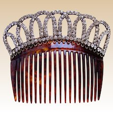 Late Victorian hair comb faux tortoiseshell rhinestone bridal hair accessory