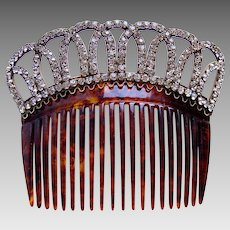 Late Victorian hair comb faux tortoiseshell rhinestone bridal hair accessory