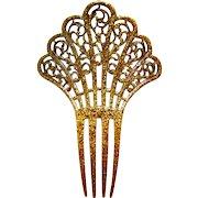 Art Deco Spanish style hair comb confetti Lucite hair accessory
