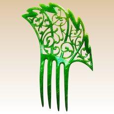 Art Deco hair comb jade green celluloid asymmetric Spanish style hair accessory