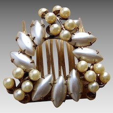 Mid century hinged hair comb Hollywood Regency faux pearl bridal hair accessory