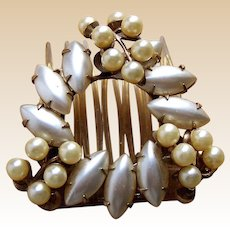 Mid century hinged hair comb Hollywood Regency faux pearl hair accessory