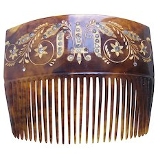 Victorian hair comb faux tortoiseshell rhinestone gilded hair accessory