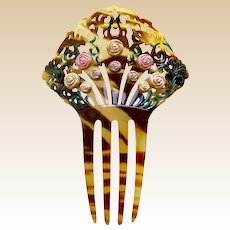 Art Deco hair comb with applied flowers Spanish style hair accessory