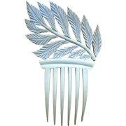 French ivory hair comb Art Deco asymmetric leaf design hair accessory