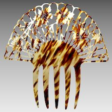 Spanish mantilla hair comb Art Deco faux tortoiseshell hair accessory