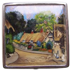 Vintage powder compact mid century purse compact with village scene