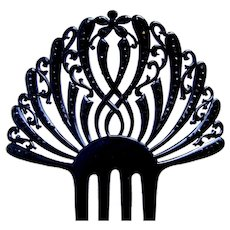 French jet hair comb Victorian mourning Spanish celluloid hair accessory