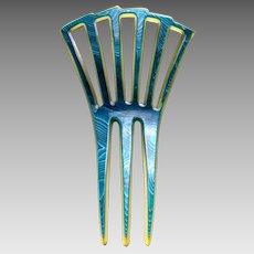 Art Deco hair comb blue moiré celluloid hair accessory