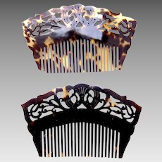 Matched pair Victorian hair combs steer horn hair accessories
