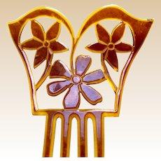 Art Deco celluloid hair comb flowers design hair accessory