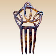 Art Nouveau hair comb faux tortoiseshell interlaced hair accessory