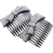 Matched pair hair combs mid century rhinestone hair accessories