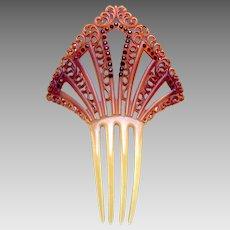 Art Deco rhinestone hair comb Spanish hair accessory