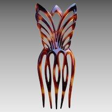 Faux tortoiseshell hair comb Art Deco geometric hair accessory