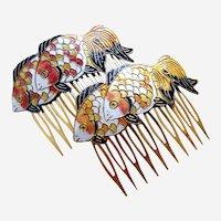 2 Vintage hair comb yellow orange cloisonné enamel fish hair accessory