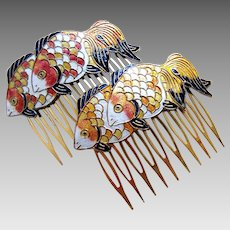2 Vintage hair comb yellow orange cloisonné enamel fish hair accessory