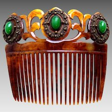 Victorian faux tortoiseshell hair comb green cabochon set hair accessory
