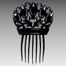 Victorian mourning hair comb French jet Spanish hair accessory