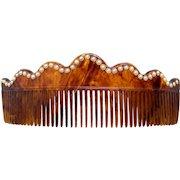Art Deco hair comb faux tortoiseshell pearl hair ornament