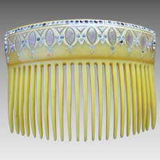 Late Victorian hair comb blonde celluloid rhinestone hair ornament
