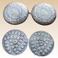 2 pair Art Nouveau circular belt buckles or cloak clasps Celtic design