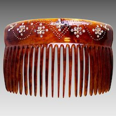 Victorian hair comb faux tortoiseshell rhinestone hair ornament
