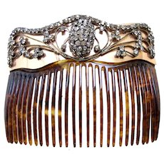 Late Victorian Back Comb Faux Tortoiseshell with Rhinestone Trim Hair Accessory - Red Tag Sale Item