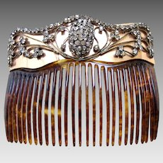 Late Victorian Back Comb Faux Tortoiseshell with Rhinestone Trim Hair Accessory