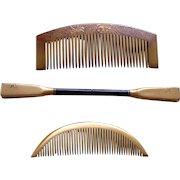 3 Japanese Kanzashi geisha hair combs and hair accessories
