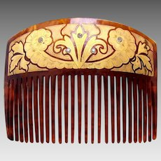 Victorian faux tortoiseshell gilded hair comb hair accessory