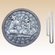Art Nouveau or Art Deco belt buckle or cloak clasp Japanaiserie design